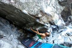 Jake Oughton bouldering Supernova [Font 7c], Magic Wood, Switzerland, 2018