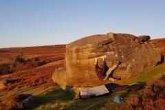 Jake Oughton bouldering in the Peak, Autumn 2019