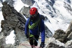 Parminder Chaggar descending the Rothorngrat, Zinalrothorn. Summer 2019